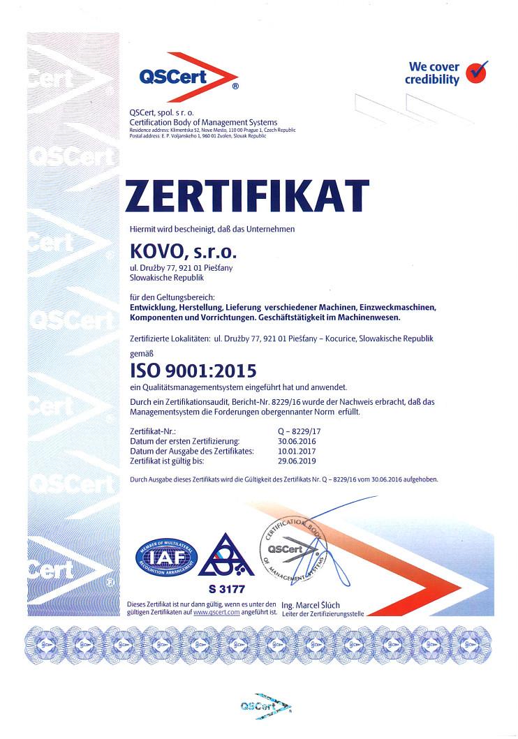 Certifikát DE