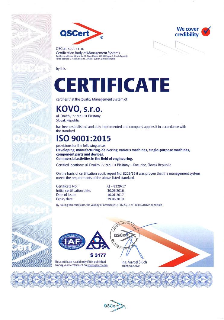 Certifikát EN